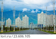 Купить «Asia, Turkmenistan, Ashgabat, View of residential buildings in city.», фото № 23606105, снято 19 февраля 2018 г. (c) age Fotostock / Фотобанк Лори