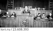 Купить «Gomulka reporting on the General Assembly meeting of the UN which he attended Oct. 21, 1960.», фото № 23608393, снято 26 марта 2019 г. (c) age Fotostock / Фотобанк Лори