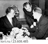 Czechoslovak communist leader, Gustav Husak (c) with President Klement Gottwald (l) and Prime Minister Antonin Zapotocky, presidential elections, 1948. Редакционное фото, фотограф Sovfoto \ UIG / age Fotostock / Фотобанк Лори