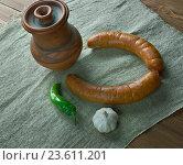 Купить «Polish sausage», фото № 23611201, снято 27 сентября 2016 г. (c) Александр Fanfo / Фотобанк Лори