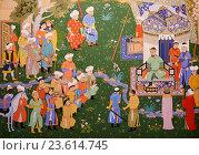 Купить «Uzbekistan, Tashkent Tamerlan square, Tamerlan museum, fresco, reception of Tamerlan.», фото № 23614745, снято 16 декабря 2015 г. (c) age Fotostock / Фотобанк Лори