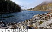 Купить «River Katun in Altai mountains», видеоролик № 23626005, снято 28 сентября 2016 г. (c) Serg Zastavkin / Фотобанк Лори