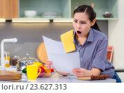Купить «Домохозяйка удивляется написанному в документах или квитанциях», фото № 23627313, снято 25 сентября 2016 г. (c) Mark Agnor / Фотобанк Лори