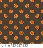 Купить «Фон с рисунками тыкв для Хеллоуина», иллюстрация № 23627833 (c) Анастасия Улитко / Фотобанк Лори