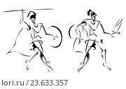 Купить «Ancient warriors, stylized sketch of», фото № 23633357, снято 11 января 2011 г. (c) easy Fotostock / Фотобанк Лори