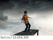 Купить «Boy ride skateboard . Mixed media», фото № 23654305, снято 24 февраля 2011 г. (c) Sergey Nivens / Фотобанк Лори