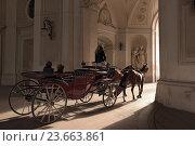 Купить «Традиционное катание на венском фиакре через арку под куполом крыла святого Михаила. Вена, Австрия», фото № 23663861, снято 22 февраля 2016 г. (c) Bala-Kate / Фотобанк Лори