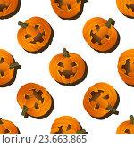 Купить «Тыквы на белом фоне для Хэллоуина», иллюстрация № 23663865 (c) Анастасия Улитко / Фотобанк Лори