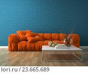 Купить «Интерьер современной комнаты с диваном. 3D-рендеринг», иллюстрация № 23665689 (c) Hemul / Фотобанк Лори