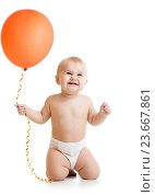 Купить «Smiling baby girl with red ballon in her hand isolated on white», фото № 23667861, снято 27 января 2014 г. (c) Оксана Кузьмина / Фотобанк Лори