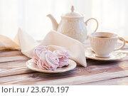 Купить «Утренний чай с зефиром», фото № 23670197, снято 7 января 2016 г. (c) Вероника Галкина / Фотобанк Лори