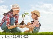 Купить «girl plant sapling tree», фото № 23683625, снято 27 февраля 2016 г. (c) Константин Юганов / Фотобанк Лори