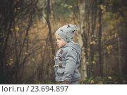 Купить «Маленький мальчик в сером пальто гуляет в осеннем парке», фото № 23694897, снято 2 октября 2016 г. (c) Вероника Галкина / Фотобанк Лори