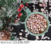 Кружка с горячим шоколадом. Стоковое фото, фотограф Дегтярева Виктория / Фотобанк Лори