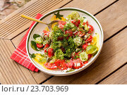 Купить «Bowl of Marinated Greek Salad with Red Napkin, Tilted View», фото № 23703969, снято 26 августа 2014 г. (c) easy Fotostock / Фотобанк Лори