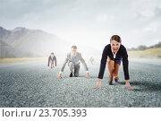 Купить «He is determined to start now . Mixed media», фото № 23705393, снято 24 марта 2014 г. (c) Sergey Nivens / Фотобанк Лори