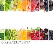Купить «Коллаж из свежих фруктов и овощей», фото № 23713017, снято 20 сентября 2018 г. (c) Наталия Пыжова / Фотобанк Лори