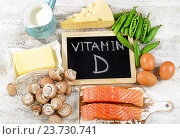 Купить «Foods rich in vitamin D.», фото № 23730741, снято 25 июля 2016 г. (c) Tatjana Baibakova / Фотобанк Лори