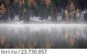Купить «Алтай, Нижнее Мультинское озероб туман над водой / Fog over the water of Lower Multinskoe lake in the Altai Mountains at late Autumn», видеоролик № 23730857, снято 20 сентября 2016 г. (c) Serg Zastavkin / Фотобанк Лори