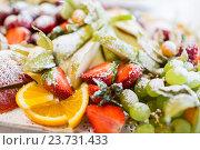 Купить «close up of dish with sugared fruit dessert», фото № 23731433, снято 11 июня 2016 г. (c) Syda Productions / Фотобанк Лори