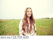 Купить «smiling young hippie woman on cereal field», фото № 23731633, снято 27 августа 2015 г. (c) Syda Productions / Фотобанк Лори