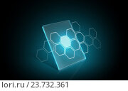 Купить «virtual tablet or digital screen with hexagon», иллюстрация № 23732361 (c) Syda Productions / Фотобанк Лори