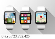 close up of black smart watches with applications. Редакционное фото, фотограф Syda Productions / Фотобанк Лори