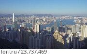 Панорама Гонконга, вид с пика Виктории (2016 год). Редакционное видео, видеограф Михаил Коханчиков / Фотобанк Лори