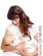 Купить «young mother breast feeding her infant», фото № 23740033, снято 3 июня 2012 г. (c) Оксана Кузьмина / Фотобанк Лори