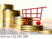 Купить «Торговая тележка на фоне денег», фото № 23741345, снято 12 февраля 2016 г. (c) Сергеев Валерий / Фотобанк Лори
