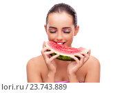 Купить «Beautiful woman with watermelon isolated on white», фото № 23743889, снято 16 августа 2016 г. (c) Elnur / Фотобанк Лори