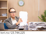 Купить «Businesswoman under stress from too much work in the office», фото № 23744225, снято 26 июля 2016 г. (c) Elnur / Фотобанк Лори