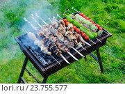 Купить «Шашлык куриный, свиной и овощной жарится на мангале», фото № 23755577, снято 23 мая 2015 г. (c) Устенко Владимир Александрович / Фотобанк Лори