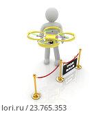 Купить «Белая фигурка человека держит жёлтый квадрокоптер», фото № 23765353, снято 26 мая 2020 г. (c) Guru3d / Фотобанк Лори