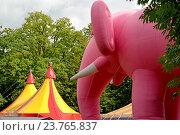 Купить «Большой розовый надувной слон на фоне шатра цирка шапито», фото № 23765837, снято 2 сентября 2016 г. (c) Ирина Борсученко / Фотобанк Лори