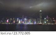 Световое шоу в Гонконге в ночное время (2016 год). Редакционное видео, видеограф Михаил Коханчиков / Фотобанк Лори