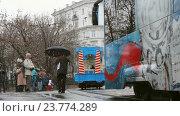 Парад трамваев 2016: вагон рельсотранспортер РТ-3 и  трамвай 71-135, посвященный Юрию Гагарину. Редакционное видео, видеограф Nadya S. / Фотобанк Лори