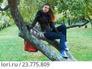 Девушка сидит на дереве в парке. Стоковое фото, фотограф Елена Антипина / Фотобанк Лори