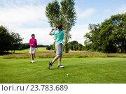 Купить «Male instructor assisting woman in learning golf», фото № 23783689, снято 20 июля 2016 г. (c) Wavebreak Media / Фотобанк Лори