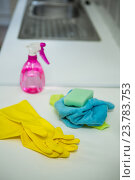 Купить «Cleaning products for house lying on the table», фото № 23783753, снято 28 июня 2016 г. (c) Wavebreak Media / Фотобанк Лори