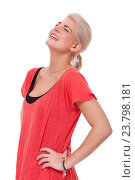 Купить «Close up Pretty Young Woman Posing in trendy in Dark Pink and Black Clothing with Hands on Waist. Isolated on White Background.», фото № 23798181, снято 18 января 2015 г. (c) easy Fotostock / Фотобанк Лори
