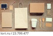 Купить «Coffee identity branding mockup set top view with retro filter effect», фото № 23799477, снято 16 марта 2015 г. (c) easy Fotostock / Фотобанк Лори