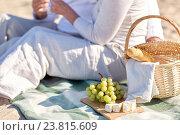Купить «happy senior couple having picnic on summer beach», фото № 23815609, снято 18 августа 2015 г. (c) Syda Productions / Фотобанк Лори