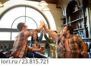 friends with beer making high five at bar or pub, фото № 23815721, снято 14 июля 2016 г. (c) Syda Productions / Фотобанк Лори