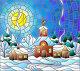 Зимний пейзаж в стиле витражного стекла, церковь и деревенские домов на фоне снега, неба и солнца, иллюстрация № 23821773 (c) Наталья Загорий / Фотобанк Лори