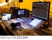 Купить «Студия звукозаписи, оборудование для записи», фото № 23823669, снято 1 ноября 2015 г. (c) Maxim Tarasyugin / Фотобанк Лори