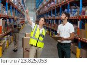 Купить «Male and female worker checking inventory», фото № 23825053, снято 23 марта 2016 г. (c) Wavebreak Media / Фотобанк Лори