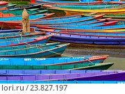 Colorful boats on Phewa Lake in Pokhara. Стоковое фото, фотограф Zoonar/Thomas Dutour / age Fotostock / Фотобанк Лори