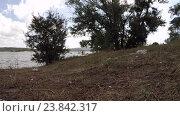 Купить «Мусор на берегу водоема», видеоролик № 23842317, снято 8 июля 2016 г. (c) Tatiana Kravchenko / Фотобанк Лори