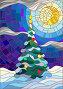 Иллюстрации в стиле витража, украшенная елка на фоне снега и ночного неба, иллюстрация № 23860153 (c) Наталья Загорий / Фотобанк Лори